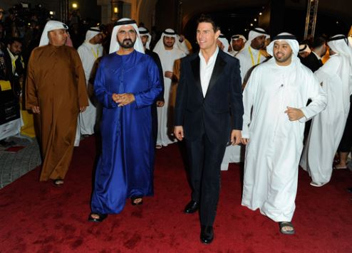 Tom Cruise pictured with Sheikh Mohammed bin Rashid Al Maktoum at the 8th DIFF.