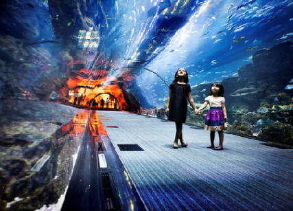 Tourists visiting Dubai Aquarium