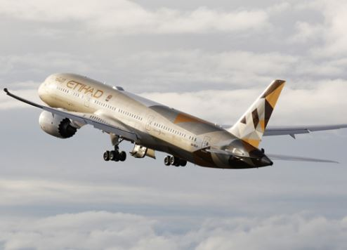 An Etihad Airways' Dreamliner takes to the skies.