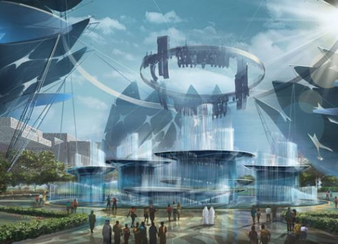 An artist's impression of Al Wasl Plaza at the World Expo site