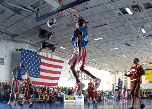 The Harlem Globetrotters in action.